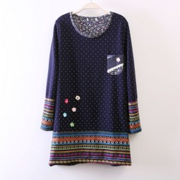 TE255LLNR Dot national style embroidery splicing long t-shirt