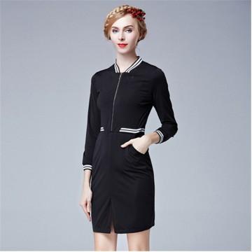 TE2617NS Autumn preppy style pure color slim dress
