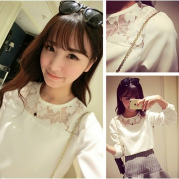 TE9022MMFS Temperament lace splicing chiffon tops