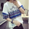 TE3051JJJ Korean fashion national pattern print t-shirt