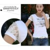 TE3113WSSP Summer fashion simple print lace short sleeve T-shirt