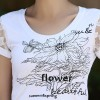 TE3113WSSP Summer fashion simple print lace short sleeve T-shirt
