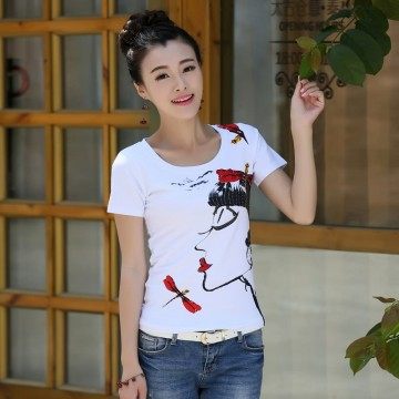 TE3116WSSP Fashion rhinestone beauty print short sleeve T-shirt
