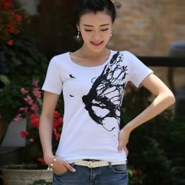 TE3118WSSP Fashion rhinestone butterfly print short sleeve T-shirt