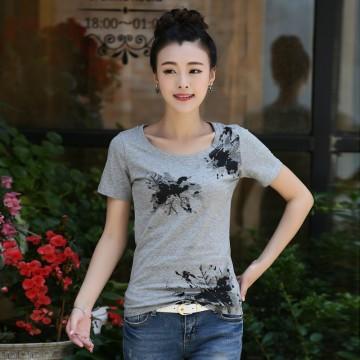 TE3121WSSP Fashion rhinestone print short sleeve T-shirt