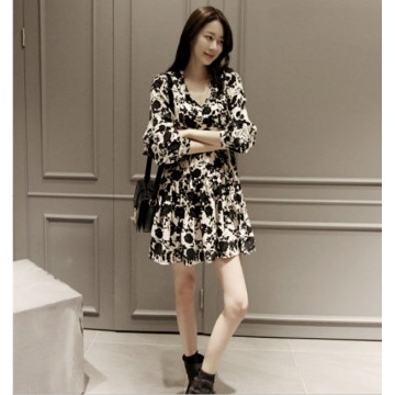 TE3205MY Vintage print loose ramie cotton long sleeve dress