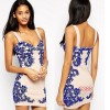 TE3388WYN Sexy blue and white porcelain print backless tight hip vest dress