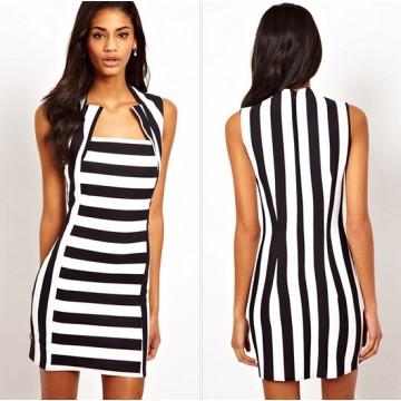 TE3389WYN Stripes splicing sleeveless one piece dress