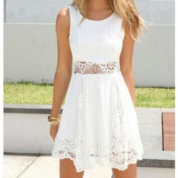 TE3878NX Hot sale lace splicing sleeveless chiffon dress