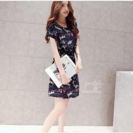 TE3913MY Shivering print lacing waist short sleeve dress