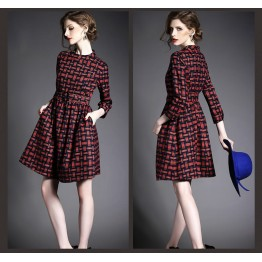 TE3917MY Europe fashion checkers long sleeve princess dress