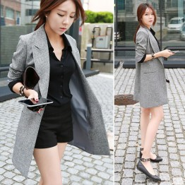 TE3920MY Korean fashion casual slim one button long jacket