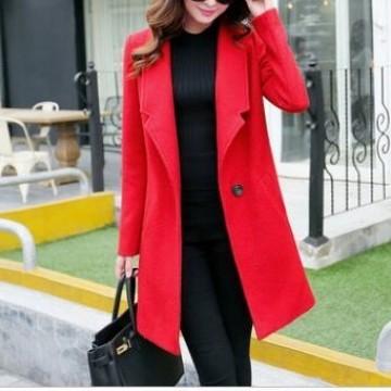 TE3925MY Korean fashion cocoon model trendy woolen coat