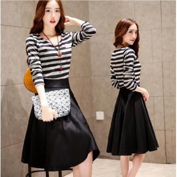 TE3928MY Autumn fashion stripes long sleeve T-shirt with A-line skirt