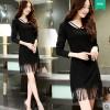 TE3929MY Autumn new style temperament slim tassel long sleeve dress