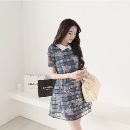 TE5094HM Peter Pan collar organza shivering dress