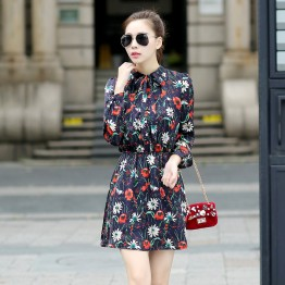 TE5238HM Print slim waist long sleeve dress