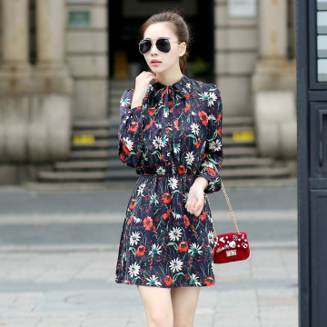 TE5238HM Print slim waist long sleeve dress