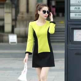 TE5249HM Color matching temperament long sleeve dress