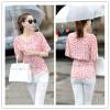 TE5270HM Summer slim waist batwing sleeve print chiffon tops
