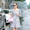 TE5272HM New style boat neck off shoulder slim waist shivering chiffon dress