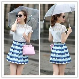 TE5273HM Lace hollow out short sleeve tops with wave pattern skirt