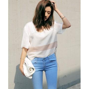 TE5372DFYL Fashion elegant color matching loose T-shirt