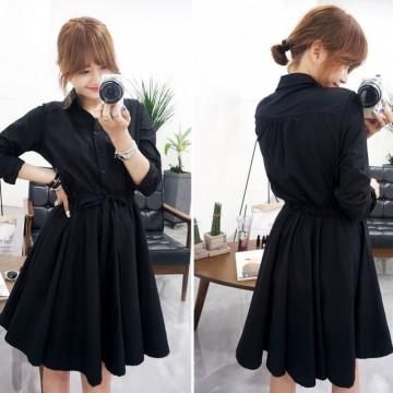 TE5658JZYS Slim waist long sleeve A-line shirt dress