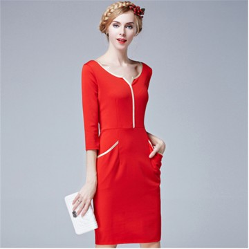 TE5850NS Europe fashion v-neck slim three quarter sleeve dress