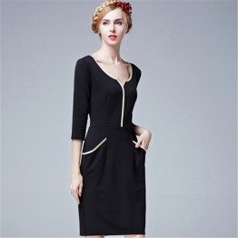 TE5850NS Europe fashion v-neck slim three quarter sleeve dress