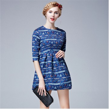 TE5851NS Europe fashion empire waist print dress