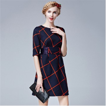 TE5852NS Half sleeve empire waist bowknot back checks dress