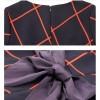 TE5852NS Half sleeve empire waist bowknot back checks dress