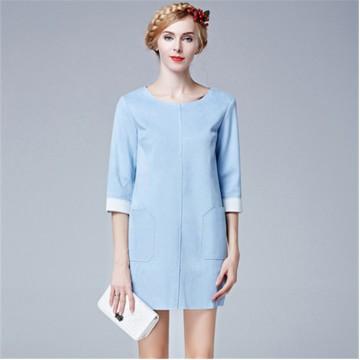 TE5853NS Fashion round neck composite suede three quarter sleeve dress