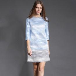 TE6018HYXMW Gradual change color elegant slim three quarter sleeve dress