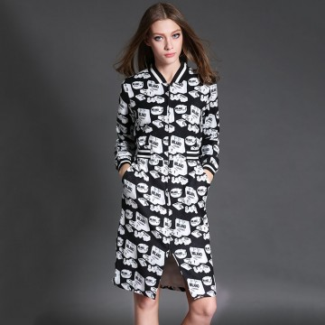 TE6019HYXMW Autumn temperament print zipper v-neck long sleeve dress