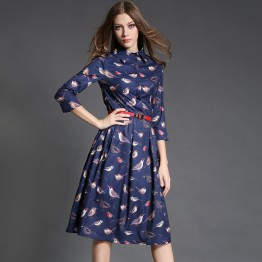 TE6021HYXMW High quality birds print buttons long dress