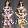 TE6022CLQX Autumn cartoon print jacquard weave sweatshirt with bubble skirt