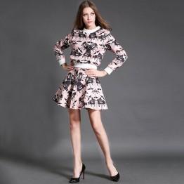 TE6022CLQX Autumn cartoon print jacquard weave sweatshirt with bubble skirt