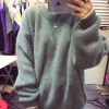 TE6035XHHB Loose large size batwing sleeve knitting pullover sweater