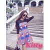 TE6212YZL Designer mesh splicing beauty print dress