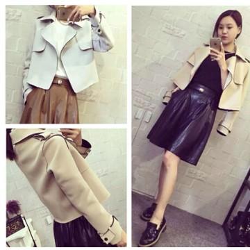 TE6213YZL Fashion lapel faux suede coat