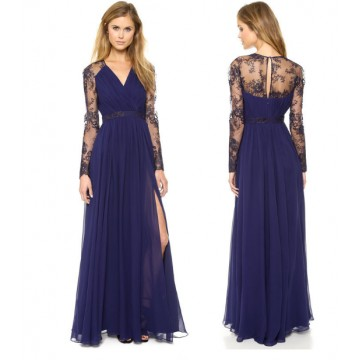 TE6312CLQX Hot sale lace embroidery splicing chiffon v-neck formal dress