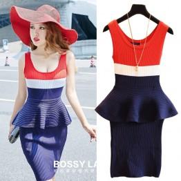 TE779HNW Europe fashion sext flouncing tight hip fake two piece dress