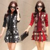 TE6575YYM Autumn Korean fashion slim print long dress with scarf
