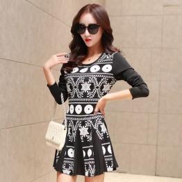 TE6575YYM Autumn Korean fashion slim print long dress with scarf