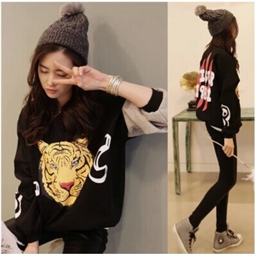 TE1002HYFS Tiger head print contract color sleeve pullover sweatshirt