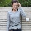 TE8032WSSP Autumn slim print lace splicing back long sleeve T-shirt