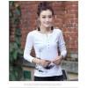 TE8032WSSP Autumn slim print lace splicing back long sleeve T-shirt