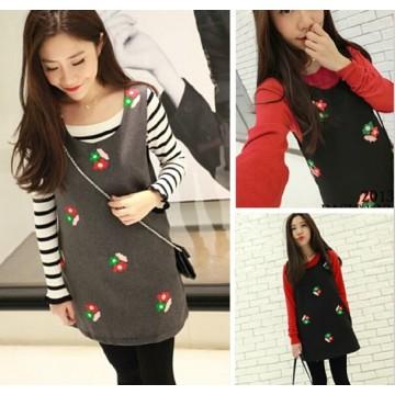 TE8215BL Korean style embroidery flower wool vest dress